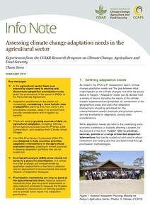 Assessing climate change adaptation needs in the agricultural sector