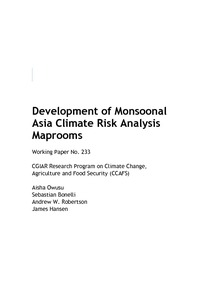 Development of monsoonal Asia climate risk analysis maprooms