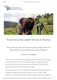 Food security under threat in Kenya