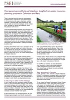 How governance affects participation: insights from water resources planning projects in Colombia and Peru