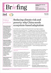 Reducing climate risk and poverty: why China needs ecosystem-based adaptation
