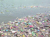 Despite barricades on ghats, Yamuna left a polluted mess after Chhath Puja