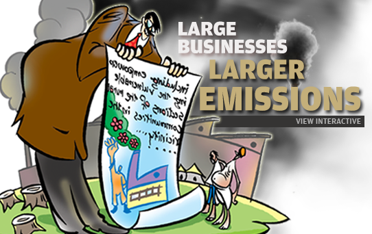 Large businesses; larger emission footprints